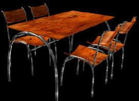 Sillas y mesa hi-tech, en Sillas 3d – Muebles equipamiento