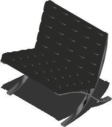 imagen Sillon barcelona 3d con materiales aplicados, en Sillas 3d - Muebles equipamiento