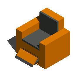 Planos de Sillon con descansa pies, en Sillones 3d – Muebles equipamiento