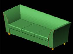 Planos de Sillón de tres cuerpos 3d, en Sillones 3d – Muebles equipamiento