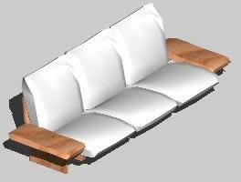 imagen Sillón de tres cuerpos 3d, en Sillones 3d - Muebles equipamiento