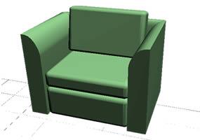 Sillón de un cuerpo en 3d, en Sillones 3d – Muebles equipamiento