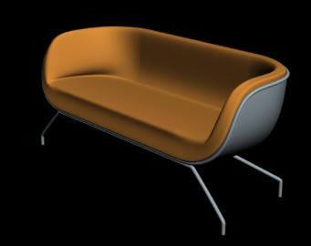 Sillon verashine moderno color naranja para dos personas, en Sillones 3d – Muebles equipamiento