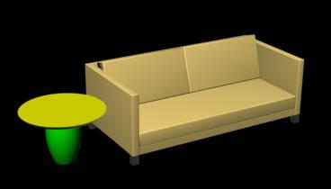 Sillon y mesa lateral contemporanea 3d, en Mesas y juegos de comedor 3d – Muebles equipamiento