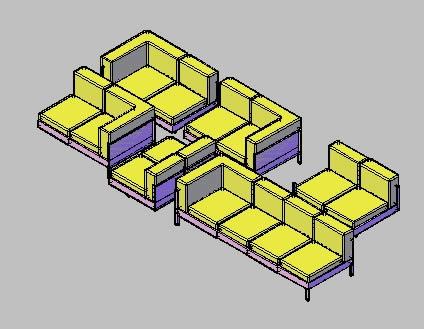 Planos de Sillones, en Sillones 3d – Muebles equipamiento