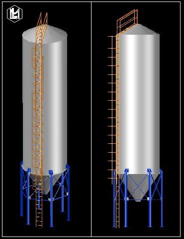 Planos de Silo metalico, en Silos y depósitos de granos – Granjas e inst. agropecuarias