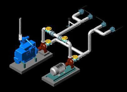 Planos de Sistema de bombas 3d, en Salas de máquinas – Instalaciones