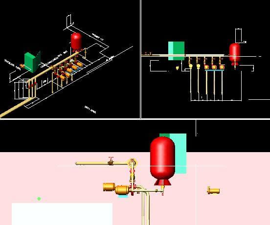 Planos de Sistema de bombeo agua industrial, en Equipos de bombeo – Máquinas instalaciones