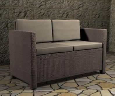 imagen Sofa 2 plazas para exterior 129x63x77 cm, en Sillones 3d - Muebles equipamiento