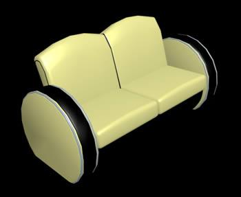 Sofá 3d de cuero, en Sillones 3d – Muebles equipamiento