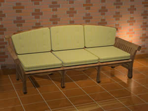 Sofa de tres plazas 3d, en Sillones 3d – Muebles equipamiento