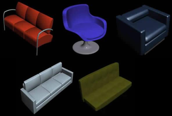 Sofas de diseño, en Sillones 3d – Muebles equipamiento