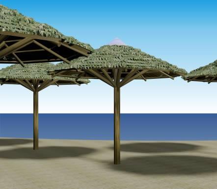 Sombrilla rústica 3d, en Pérgolas fuentes y elementos decorativos – Parques paseos y jardines