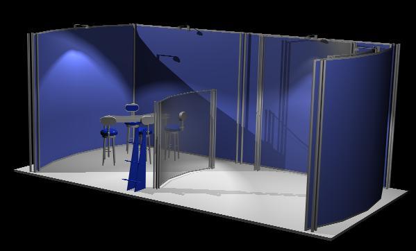 Planos de Stand en 3d, en Centros de información y recepción – Muebles equipamiento