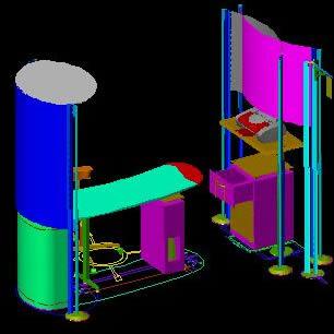 Planos de Stand para oficina un modulo, en Oficinas y laboratorios – Muebles equipamiento