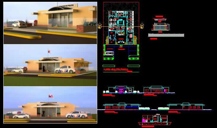 Planos de Subestacion de policia, en Estaciones de policía bomberos cuarteles – Proyectos