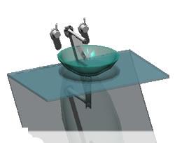 Planos de Tablero de baño con ovalin y griferia, en Baños – Muebles equipamiento