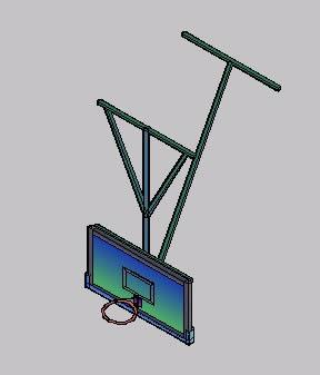 Planos de Tablero de basket 3d suspendido, en Juegos – Muebles equipamiento