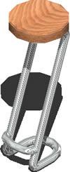 Planos de Taburete 3 d con materiales aplicados, en Butacas – Muebles equipamiento