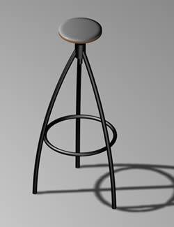 Taburete de hierro con madera 3d con materiales, en Butacas – Muebles equipamiento