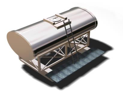 Tanque de acero inoxidable 3d, en Salas de máquinas – Instalaciones