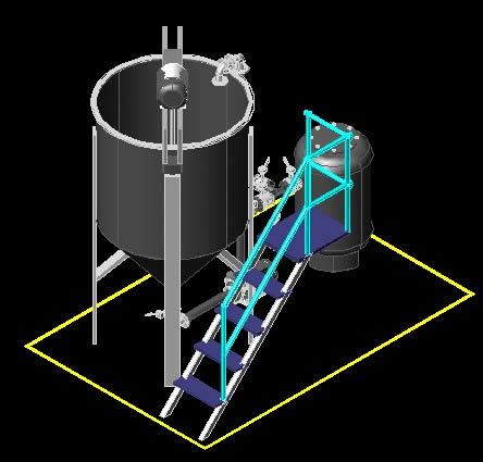 Planos de Tanque de proceso con filtro 3d, en Tanques – Máquinas instalaciones