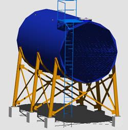 Planos de Tanque para gas-oil en 3d, en Tanques – Máquinas instalaciones