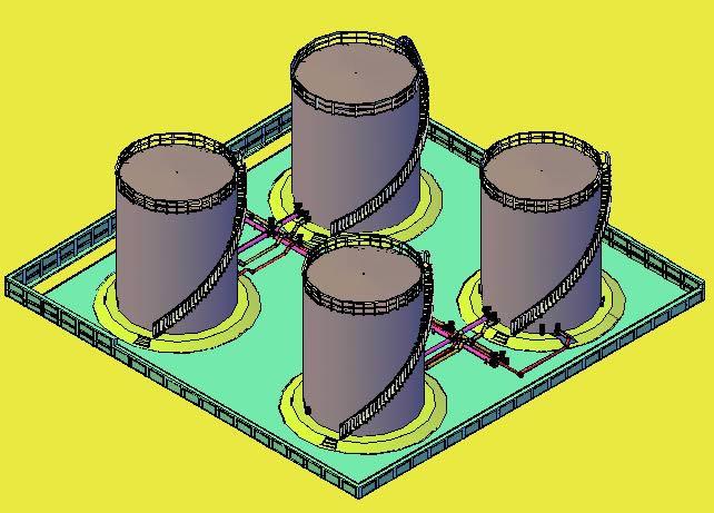imagen Tanques con tuberias 3d, en Tanques - Máquinas instalaciones