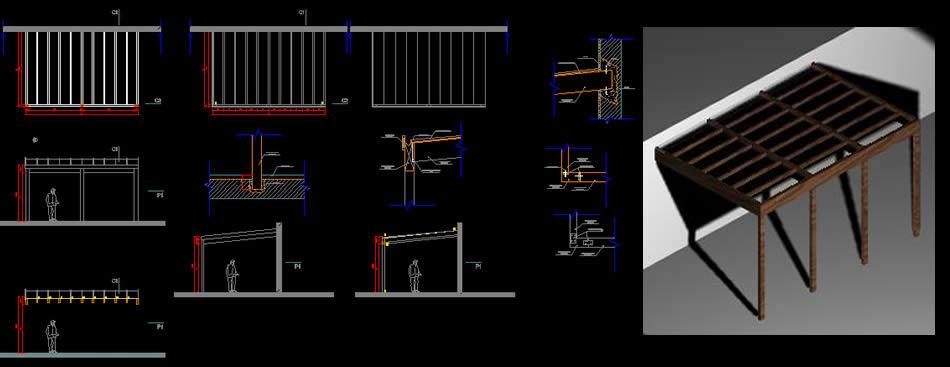 Planos de Techo de madera y policarbonato, en De madera – Detalles constructivos