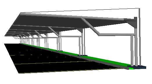 Planos de Techo estacionamiento comercial 3d, en Estructuras de acero – Detalles constructivos
