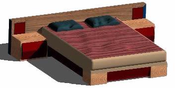 imagen Planos de Cama de dos plazas 3d en DWG AUTOCAD, Dormitorios - Muebles equipamiento