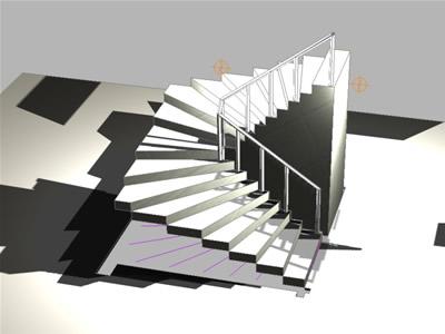 imagen Planos de Escalera en u 3d en DWG AUTOCAD, Modelos de escaleras 3d - Escaleras
