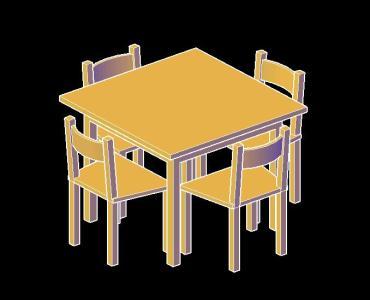 Planos de Mesa y sillas rústicas 3d en DWG AUTOCAD, Mesas y ...