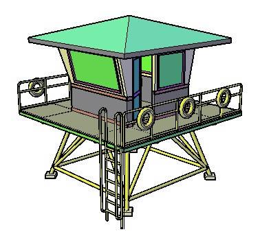 Planos de Torre de vigilancia  3d, en Muelles y embarcaderos – Proyectos