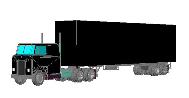 Planos de Trailer con un remolque 3d, en Camiones – Medios de transporte
