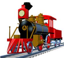 imagen Tren a vapor en 3d, en Ferrocarriles - Medios de transporte
