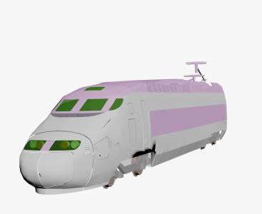 imagen Tren pasajeros 3d, en Ferrocarriles - Medios de transporte