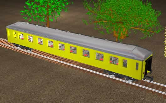 Planos de Vagon de tren sobre via, en Ferrocarriles – Medios de transporte