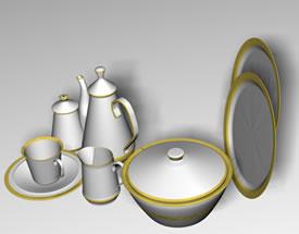 imagen Vajilla 3d, en Vajilla - Muebles equipamiento