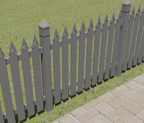 Valla tipo entablado vertical en madera 3d, en Verjas y vallados – Parques paseos y jardines