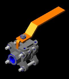 Planos de Valvula de bola 3d, en Válvulas tubos y piezas – Máquinas instalaciones