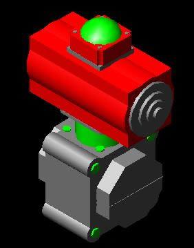 imagen Valvula de mariposa con actuador 3d, en Válvulas tubos y piezas - Máquinas instalaciones