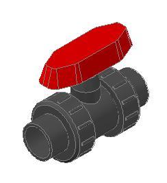 Planos de Valvula esferica de 1 pvc extremos para cementar 3d, en Tubos y elementos de pvc – ppn – fofo – etc – Sanitarios
