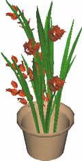 Planos de Vaso con planta 3d, en Plantas de interior 3d – Arboles y plantas