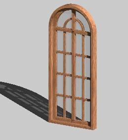 Planos de Ventana madera 3d con arco vidrio repartido 2hojas, en Ventanas 3d – Aberturas