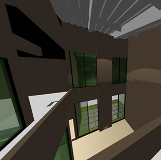 Planos de Vista interior de sala a doble altura, en Vivienda unifamiliar 3d – Proyectos