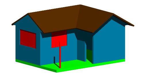 imagen Vivienda 3d, en Lecciones autocad - Dibujando con autocad