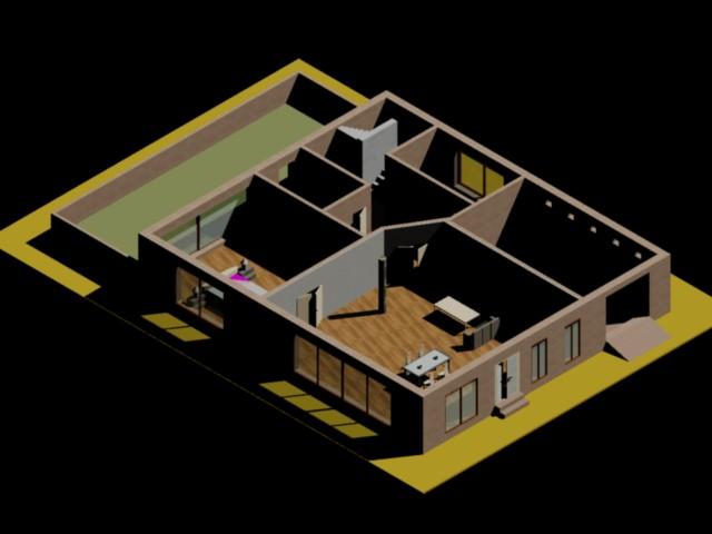 imagen Vivienda planta baja 3d, en Vivienda unifamiliar 3d - Proyectos