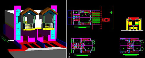 Planos de Viviendas apareadas, en Vivienda unifamiliar 3d – Proyectos